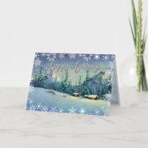 CHRISTMAS FARM by SHARON SHARPE Holiday Card