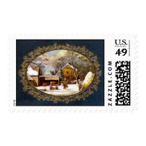 Christmas farm scene stamp
