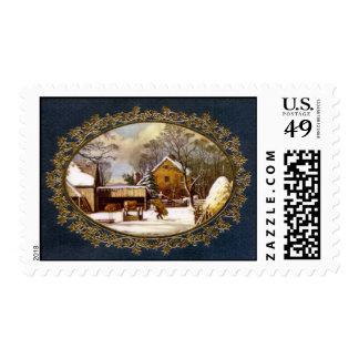 Christmas farm scene stamp