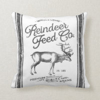 Christmas Farmhouse Reindeer Feed Sack Pillow
