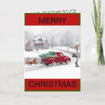 Christmas Farmhouse Scene on a Christmas Card