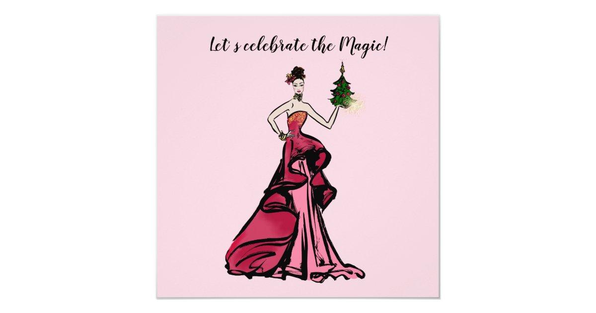 Christmas Fashion Illustration With Tree Invitation Zazzle Com