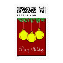 Christmas Fastpitch Softball Postage Stamps