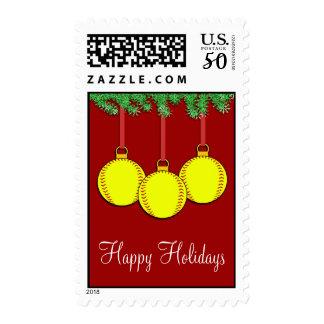 Christmas Fastpitch Softball Postage Stamps