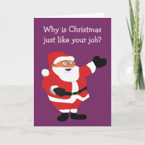 Christmas Fat Man Santa Office Humor Holiday Card