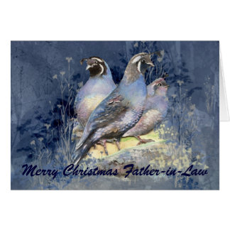 Christmas Father-in-Law  California Quail Bird Card