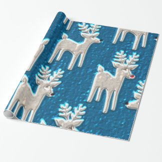 Christmas Faux Metallic Reindeer glossy wrapping p Wrapping Paper