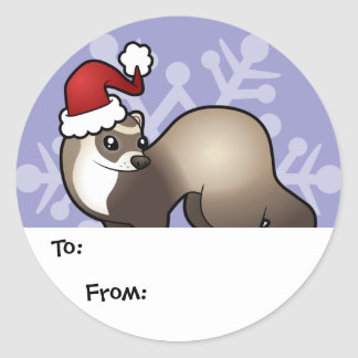 Christmas Ferret Gift Tags Classic Round Sticker