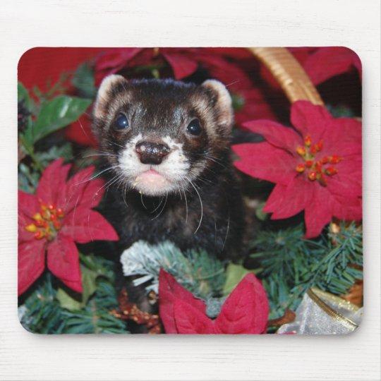 Christmas Ferret.Christmas Ferret Mouse Pad