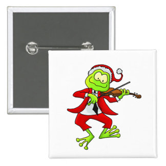 Christmas Fiddle Frog 2 Inch Square Button