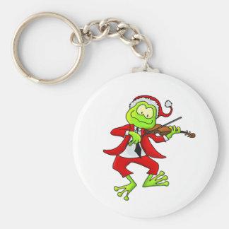 Christmas Fiddle Frog Keychain