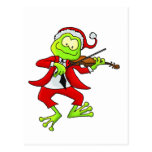 Christmas Fiddle Frog Postcard