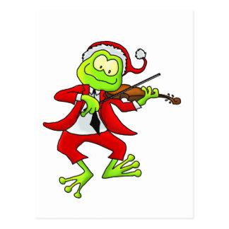 Christmas Fiddle Frog Postcard