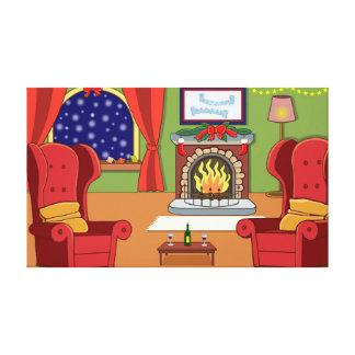 Christmas Fire Canvas Print