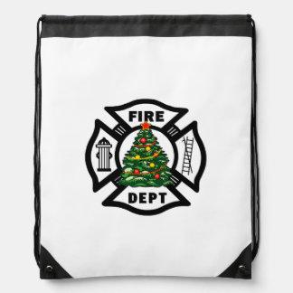 Christmas Fire Dept Drawstring Bag