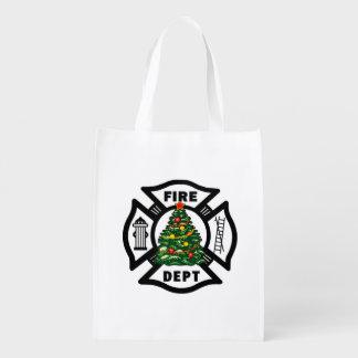Christmas Fire Dept Grocery Bag