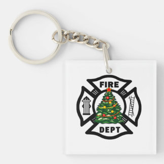 Christmas Fire Dept Keychain