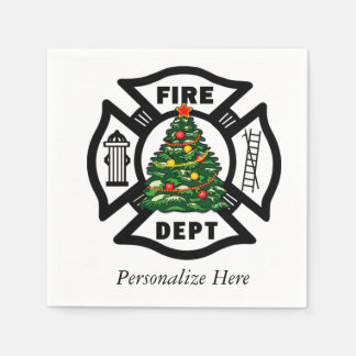 Christmas Fire Dept Napkin