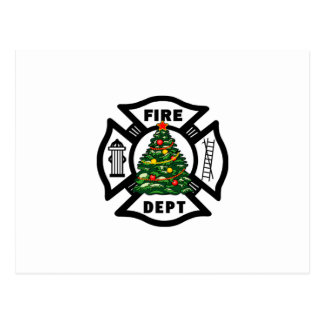 Christmas Fire Dept Postcard