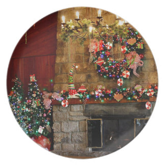Christmas Fire Place Scene Dinner Plate