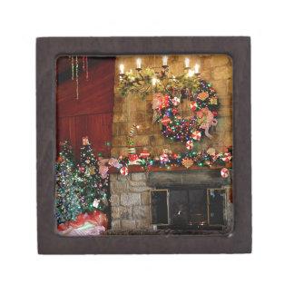 Christmas Fire Place Scene Jewelry Box