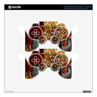 Christmas Fire Place Scene PS3 Controller Skins