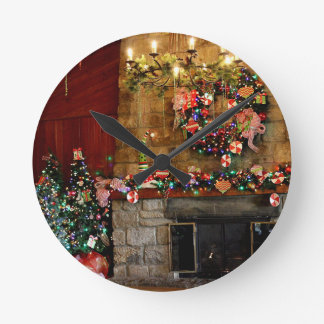 Christmas Fire Place Scene Round Clock