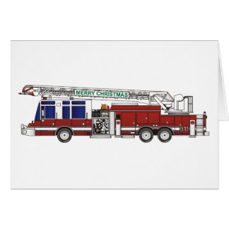 Christmas Fire Truck Greeting Cards