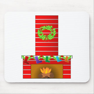 Christmas fireplace clipart mouse pad