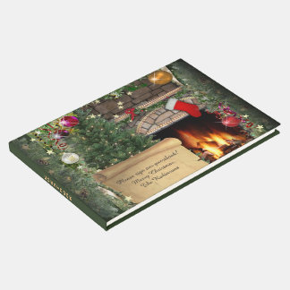 Christmas Fireplace (customizable) Guest Book