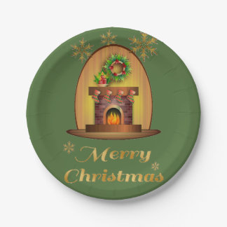 Christmas Fireplace Paper Plate