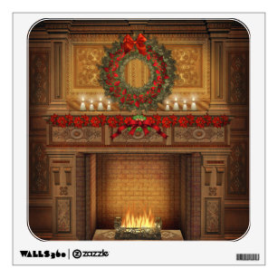 Christmas Fireplace Wall Decal