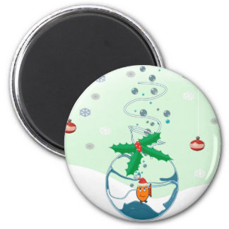 Christmas Fish 2 Inch Round Magnet
