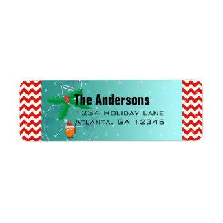 Christmas Fish Chevron Pattern Return Address Label