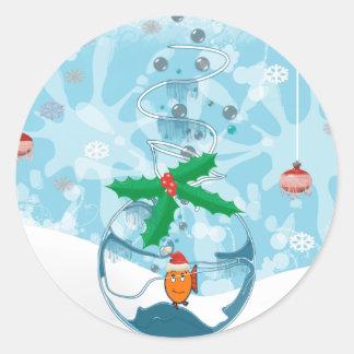 Christmas Fish Splat Classic Round Sticker
