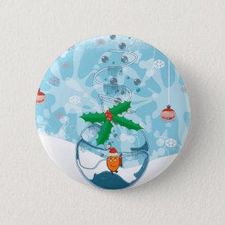 Christmas Fish Splat Pinback Button