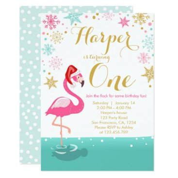 Christmas Themed Christmas Flamingo Birthday invitation winter Snow