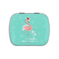 Christmas Flamingo candy tin