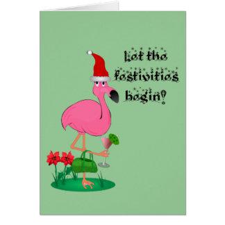 Christmas Flamingo Greeting Card