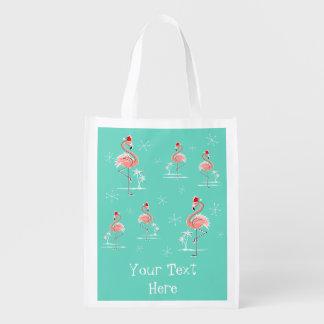 Christmas Flamingo Group Text reusable bag