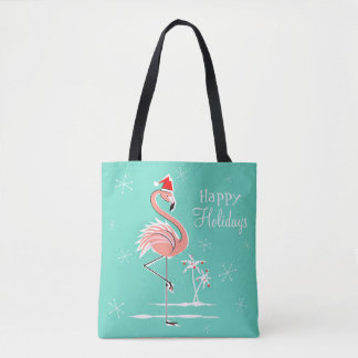 Christmas Flamingo Happy Holidays all over tote