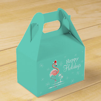 Christmas Flamingo Happy Holidays favor box gable
