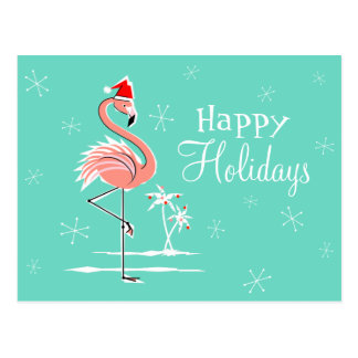 Christmas Flamingo Happy Holidays horizontal Postcard