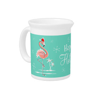Christmas Flamingo Happy Holidays pitcher