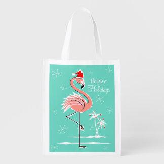 Christmas Flamingo Happy Holidays reusable bag