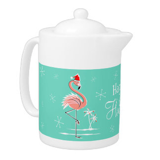 Christmas Flamingo Happy Holidays teapot