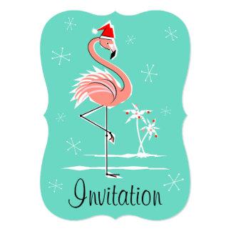 Christmas Flamingo 'invitation' bracket vertical Card