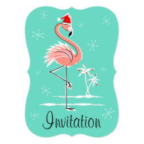 Christmas Flamingo 'invitation' bracket vertical Invitation