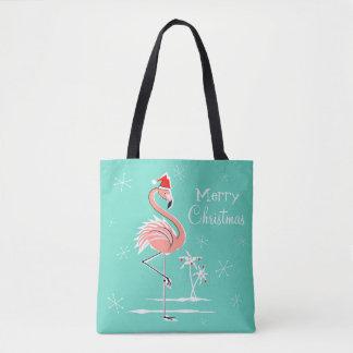 Christmas Flamingo Merry Christmas all over tote