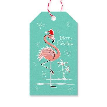 Christmas Themed Christmas Flamingo Merry Christmas aqua back Gift Tags